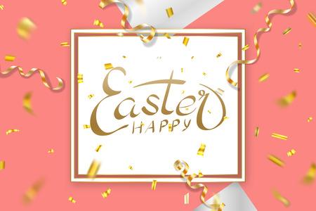 Happe Easter background, lettering, confetti. Greeting Easter 3D card. Gold decoration frame, handwritten inscription. Holiday design poster, banner. Calligraphy retro letter Vector illustration Imagens - 124646866