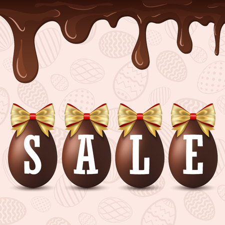 Easter egg text sale. Happy Easter eggs 3D, dripping chocolate, gold ribbon bow, textured background. Design banner, poster, promotion, holiday decoration, special offer discount Vector illustration Çizim