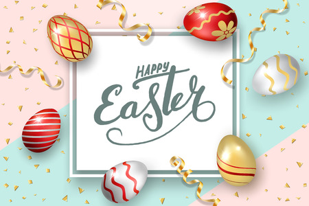Happy Easter background, lettering, eggs. Greeting Easter 3D card. Gold decoration frame, handwritten inscription. Holiday design poster, flyer, banner. Calligraphy retro letter Vector illustration