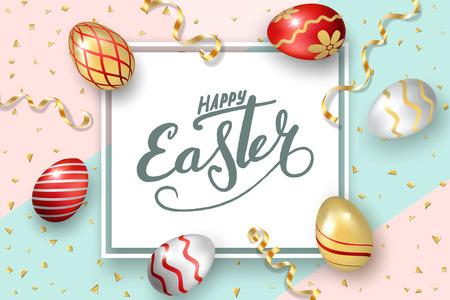 Happy Easter background, lettering, eggs. Greeting Easter 3D card. Gold decoration frame, handwritten inscription. Holiday design poster, flyer, banner. Calligraphy retro letter Vector illustration Imagens - 124646891