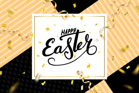 Happy Easter background, lettering, confetti. Greeting Easter 3D card. Gold decoration frame, handwritten inscription. Holiday design poster, banner. Calligraphy retro letter Vector illustration
