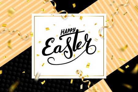 Happy Easter background, lettering, confetti. Greeting Easter 3D card. Gold decoration frame, handwritten inscription. Holiday design poster, banner. Calligraphy retro letter Vector illustration Imagens - 124646898