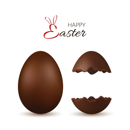 Easter egg 3d. Chocolate brown whole and broken eggs set, isolated white background. Traditional sweet candy, decoration Happy Easter celebration. Design element spring holiday Vector illustration