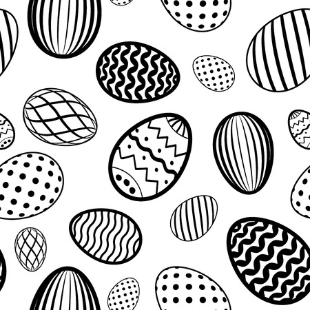 Easter egg seamless pattern. White black holiday eggs texture. Simple abstract decorative template for Happy Easter celebration. Stylized cute ornament wallpaper, card, fabric Vector illustration Ilustração