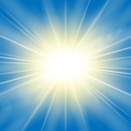 Rayons de soleil. Effet lumineux Starburst, isolé sur fond bleu. Flash d'étoile de lumière dorée. Poutres brillantes abstraites. Explosion d'étincelle magique vibrante. Éclat lumineux, effet de lentille Illustration vectorielle