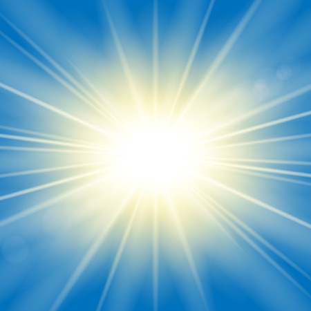 Sun rays. Starburst bright effect, isolated on blue background. Gold light star flash. Abstract shine beams. Vibrant magic sparkle explosion. Glowing burst, lens effect Vector illustration