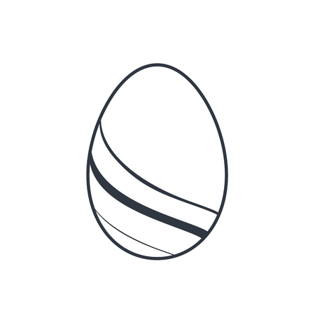Easter egg icon. Black egg sign, isolated white background. Simple design, decoration Happy Easter. Holiday decorative element. Cute pattern ornament celebration. Spring symbol Vector illustration