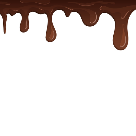 Dripping chocolate. Drips chocolate, isolated white background. Melt fluid sweet dessert. Tasty splash liquid, realistic 3D design. Brown delicious cream. Flowing trickle streams Vector illustration Illustration
