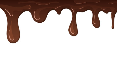 Dripping chocolate. Drips chocolate, isolated white background. Melt fluid sweet dessert. Tasty splash liquid, realistic 3D design. Brown delicious cream. Flowing trickle streams Vector illustration