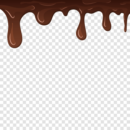 Dripping chocolate. Drips chocolate, isolated white transparent background. Melt fluid sweet dessert. Tasty splash liquid, cartoon design. Brown delicious cream. Flowing trickle Vector illustration