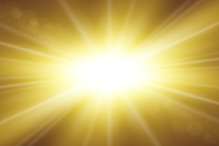 Sun rays. Starburst bright effect, isolated on gold background. Gold light star flash. Abstract shine beams. Vibrant magic sparkle explosion. Glowing burst, lens effect Vector illustration Illustration
