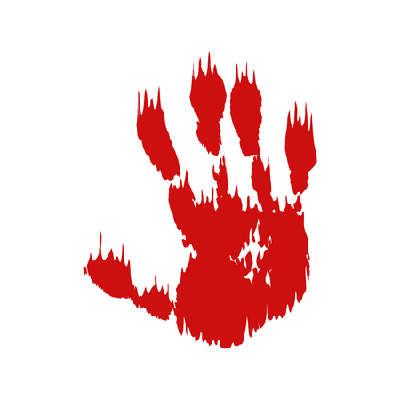Bloody hand print isolated white background. Horror scary blood dirty handprint, fingerprint. Red palm, fingers, stain, splatter, streams. Symbol horror zombie, murder, violence Vector illustration Stock Vector - 123507719