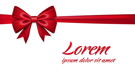 Ribbon bow for gift, isolated white background. Satin red design festive frame. Decorative Christmas, Valentine day card, present holiday decoration. Birthday silk ribbon bow Vector illustration Illustration