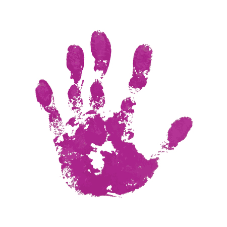Hand paint print, isolated white background. Pink human palm and fingers. Abstract art design, symbol identity people. Silhouette child, kid, people handprint. Grunge texture Vector illustration  イラスト・ベクター素材