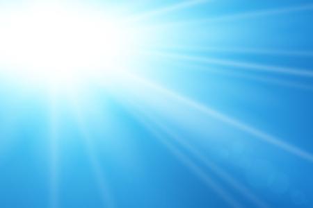 Blue sky sun flare background. Clear summer nature, sunlight weather. Sunshine glare rays, lens. Light sunny spring season. White glow sunrise, sky heaven. Bright sparkle burst Vector illustration