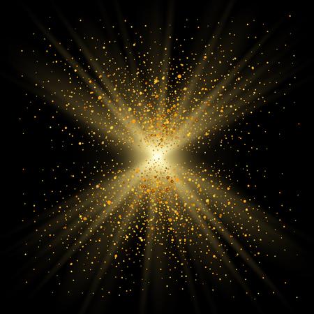 Scintillio d'oro su sfondo nero. Scintillio dorato chiaro, decorazione a trama di coriandoli. Design astratto brillante Vacanze di Natale, celebrazione di felice anno nuovo. Glow sun shimmer polvere illustrazione vettoriale Vettoriali