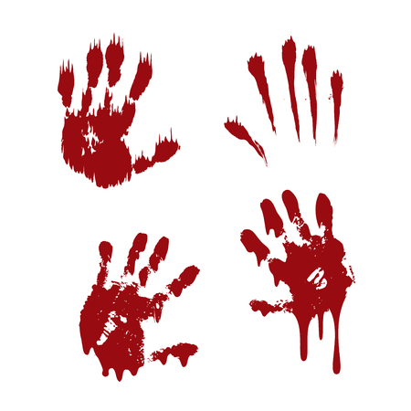 Bloody hand print set isolated white background. Horror scary blood handprint, fingerprint. Red palm, fingers, stain, splatter, streams. Symbol horror zombie, murder, violence Vector illustration