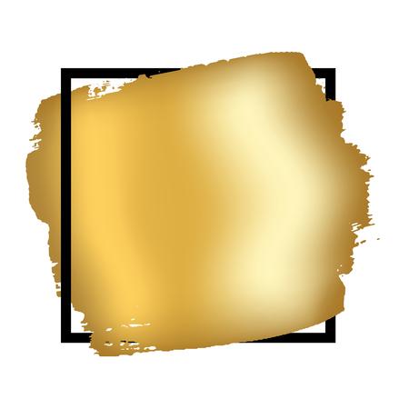 Gold brush in black square frame isolated white background. Golden stroke abstract texture. Fashion border. Gold foil glitter smear. Shine design wedding invitation, sale banner Vector illustration