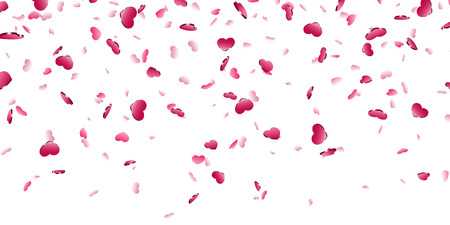 Heart falling confetti isolated white background. Pink fall hearts. Valentine day decoration. Love element design, hearts-shape confetti invitation wedding card, romantic holiday Vector illustration