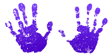 Hand paint print set, isolated white background. Color human palm and fingers. Abstract art design, symbol identity people. Silhouette child, kid, people handprint. Grunge texture Vector illustration