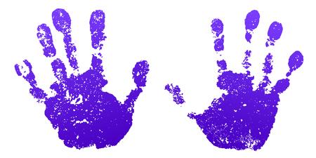 Insieme della stampa della vernice della mano, fondo bianco isolato. Colore palmo e dita umani. Disegno di arte astratta, persone di identità di simbolo. Silhouette bambino, ragazzo, impronte di mani di persone. Struttura del grunge Illustrazione vettoriale Vettoriali