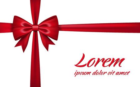 Ribbon bow for gift isolated white background. Red satin design festive frame. Decorative Christmas, Valentine day card, present holiday decoration. Birthday shiny silk ribbon bow Vector illustration Illustration