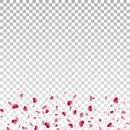 Heart falling confetti isolated white transparent background. Red fall hearts. Valentine day decoration. Love element design, hearts-shape confetti wedding card, romantic holiday Vector illustration