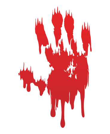 Bloody hand print isolated white background. Horror scary blood dirty handprint, fingerprint. Red palm, fingers, stain, splatter, streams. Symbol horror zombie, murder, violence Vector illustration