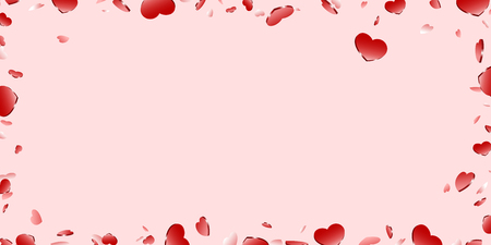 Heart frame isolated pink background. Red hearts fall confetti border. Abstract heart-shape design love card, wedding romantic poster. Pattern greeting, Valentine day decoration Vector illustration  イラスト・ベクター素材