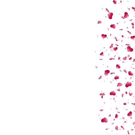 Heart falling confetti isolated white background. Red fall hearts. Valentine day decoration. Love element design, hearts-shape confetti invitation wedding card, romantic holiday Vector illustration  イラスト・ベクター素材
