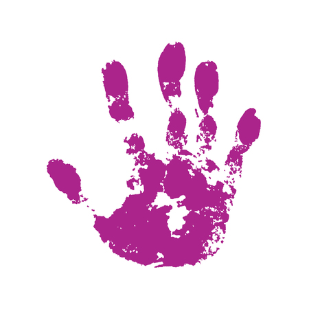 Hand paint print, isolated white background. Pink human palm and fingers. Abstract art design, symbol identity people. Silhouette child, kid, people handprint. Grunge texture Vector illustration 向量圖像