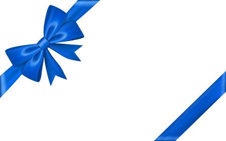 Ribbon bow for gift, isolated white background. Satin design festive frame. Decorative Christmas, Valentine day card, present holiday decoration. Birthday shiny silk ribbon bow Vector illustration