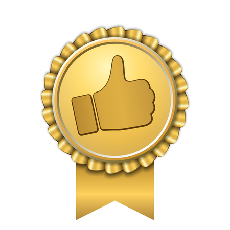 Ribbon award up thumb gold icon. Gesture success hand golden medal. Best choice, best seller, label control quality satisfaction. Design stamp guarantee certificate seal recommend Vector illustration