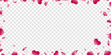 Heart frame isolated white transparent background. Pink hearts fall confetti border. Abstract heart design love card, wedding romantic greeting poster. Valentine day decoration Vector illustration