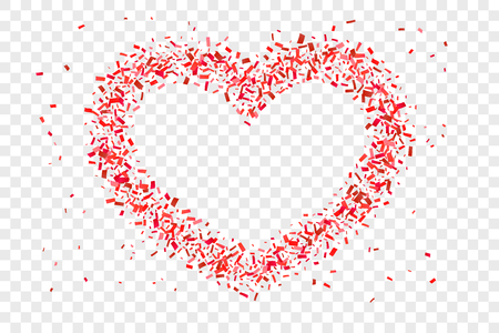 Heart confetti isolated white transparent background. Fall red confetti, heart-shape. Valentine day holiday, romantic wedding border card. Valentines decoration frame Love design Vector illustration
