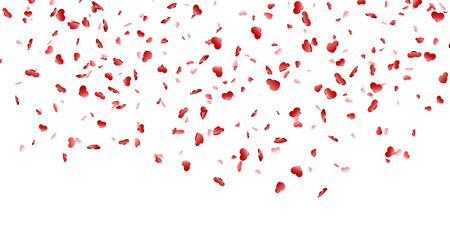 Heart falling confetti isolated white background. Red fall hearts. Valentine day decoration. Love element design, hearts-shape confetti invitation wedding card, romantic holiday Vector illustration Illustration