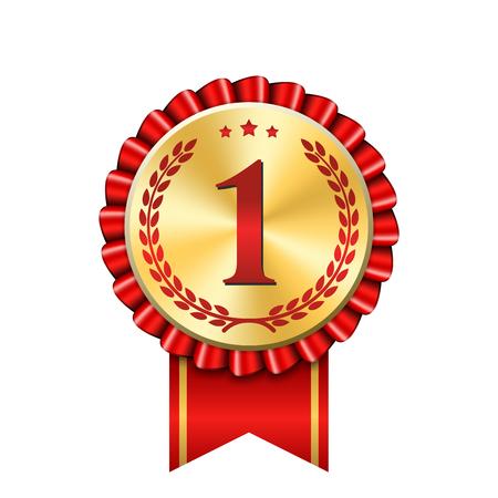 Numéro d'icône d'or de ruban d'attribution en premier. Gagnant du design médaille d'or rouge 1 prix. Symbole meilleur trophée, 1er champion du succès, un honneur de compétition sportive, victoire de leadership de réussite Illustration vectorielle Vecteurs