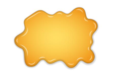 Honey splash. Yellow drip liquid isolated white background. 3D drop of sweet natural honey. Healthy organic nature food. Juice orange syrup. Round ornate gold spot. Caramel design Vector illustration