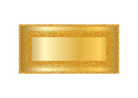 Gold frame isolated white background. Golden glitter confetti texture. Gold square border, shiny gradient. Light dust decoration. Bright design Christmas, holiday celebration Vector illustration