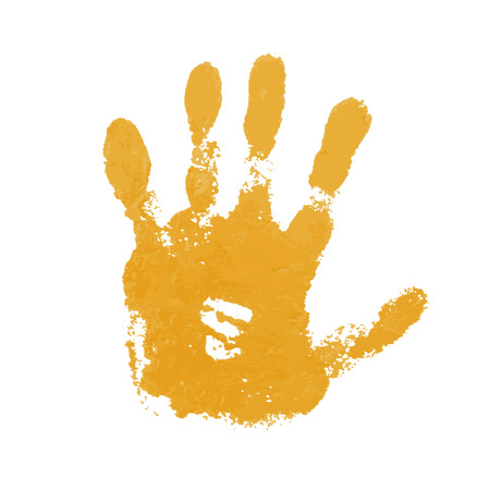 Hand paint print, isolated white background. Yellow human palm and fingers. Abstract art design, symbol identity people. Silhouette child, kid, people handprint. Grunge texture Vector illustration