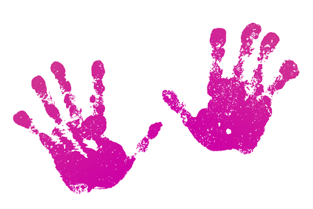 Hand paint print set, isolated white background. Pink human palm and fingers. Abstract art design, symbol identity people. Silhouette child, kid, people handprint. Grunge texture Vector illustration