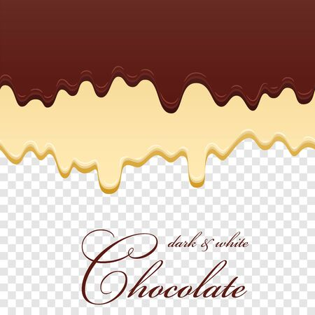 Chocolate seamless pattern. Drip dark milk chocolate isolated white transparent background. Sweet melting food. Dripping 3d liquid design. Double dessert. Drop melted choco Vector illustration