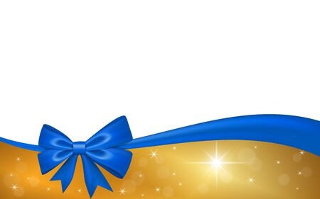 Gold gift card with blue ribbon bow, isolated on white background. Decoration stars design for Christmas holiday celebration, greeting, Valentine Day present, birthday invitation Vector illustration