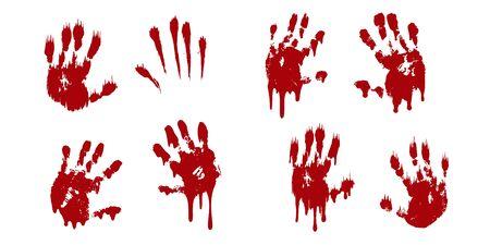 Bloody hand print set isolated white background. Horror scary blood handprint, fingerprint. Red palm, fingers, stain, splatter, streams. Symbol horror zombie, murder, violence Vector illustration