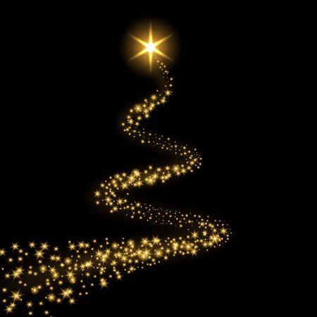 Fondo nero isolato della traccia della stella. Cometa di luce magica d'oro, scintillii scintillanti dorati. Tiro con brillantini. Effetto magico, decorazione natalizia ondulata. Illustrazione vettoriale di polvere di stelle astratta Vettoriali