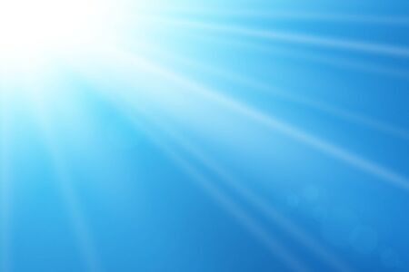 Blue sky sun flare background  Clear summer nature, sunlight