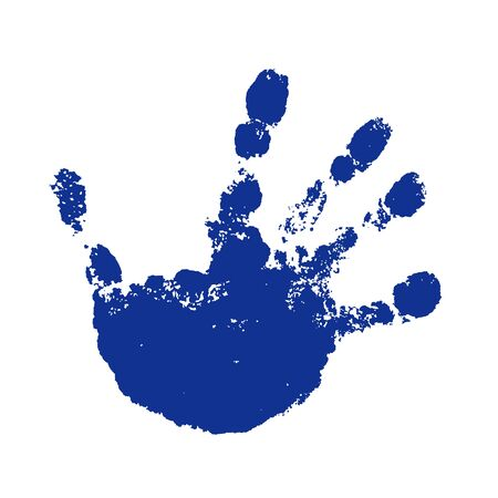Hand paint print, isolated white background. Blue human palm and fingers. Abstract art design, symbol identity people. Silhouette child, kid, people handprint. Grunge texture Vector illustration