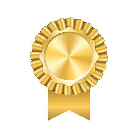 Icona del nastro premio oro. Design medaglia d'oro isolato su sfondo bianco. Simbolo della celebrazione del vincitore, miglior risultato del campione, sigillo del trofeo di successo. Elemento di rosetta vuota Illustrazione vettoriale Vettoriali