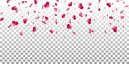 Heart falling confetti isolated white transparent background. Pink fall hearts. Valentine day decoration. Love element design, hearts-shape confetti wedding card, romantic holiday Vector illustration