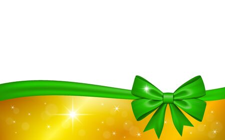 Gold gift card with green ribbon bow, isolated on white background. Decoration stars design for Christmas holiday celebration, greeting, Valentine Day present, birthday invitation Vector illustration Иллюстрация